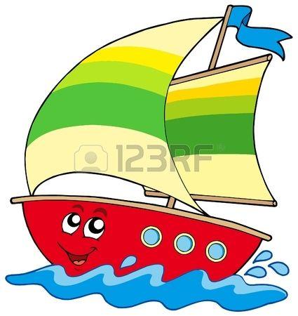Cartoon sailboat on white background - vector illustration.