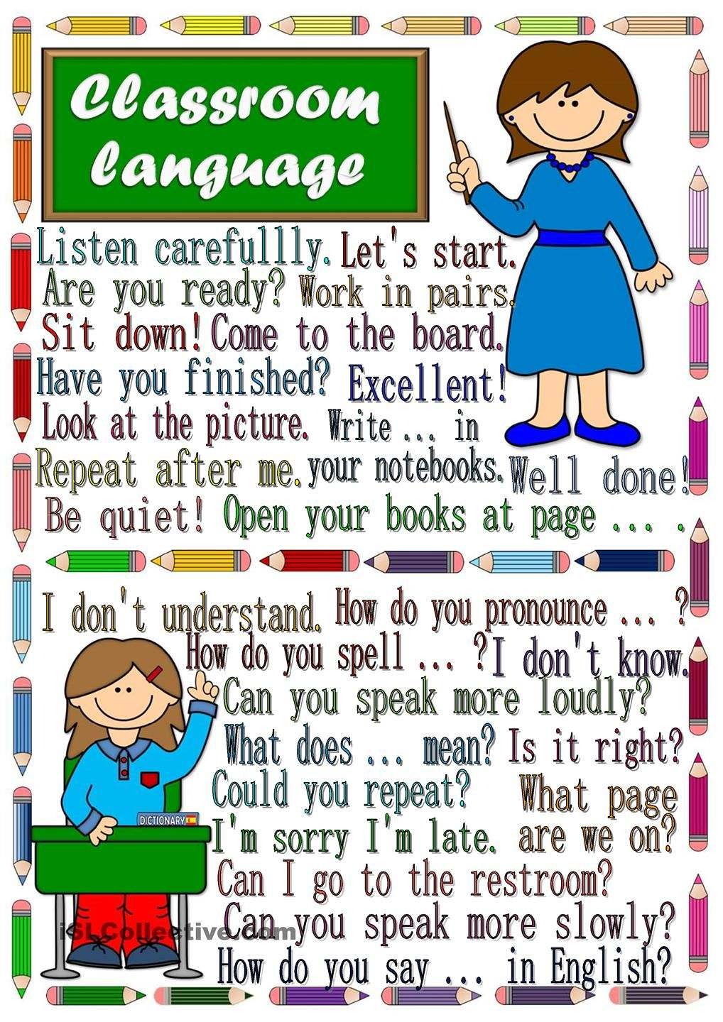 Classroom Ideas Esl : Classroom language poster and rules