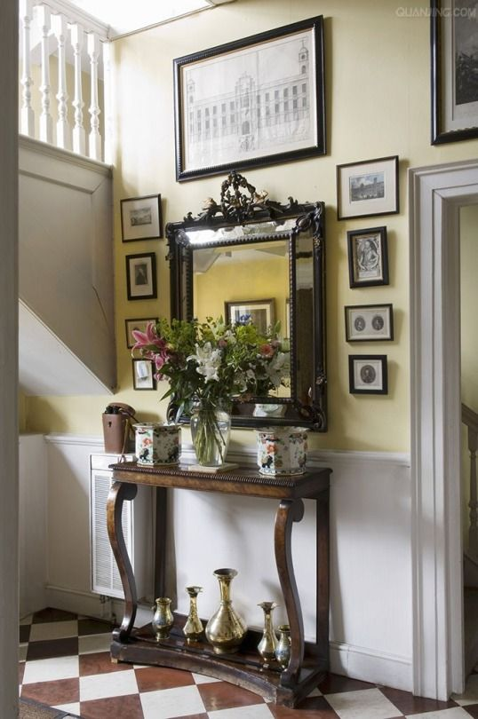 Bouquet Of Lilies On Antique Console Table Mirror And Old