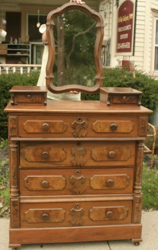 Beautiful Antique Walnut Victorian Eastlake Gentleman S Dresser With Mirror