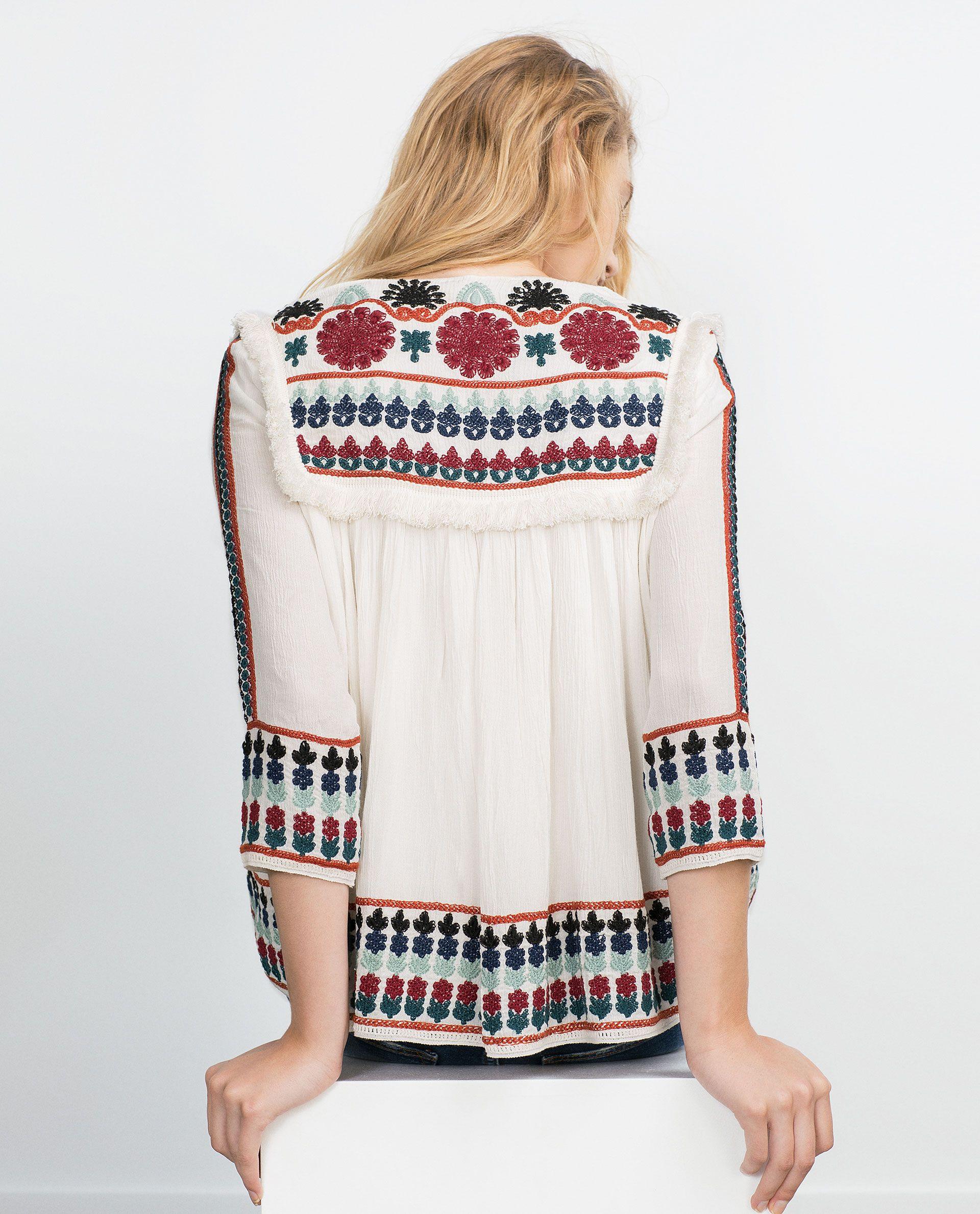ZARA MUJER CHAQUETA BORDADA | Shirt blouses, Embroidered