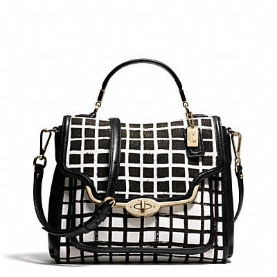 MADISON SMALL SADIE FLAP SATCHEL IN GRAPHIC PRINT FABRIC   Coach