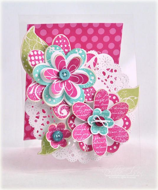 Frilly Flowers clear card by Debbie Olson