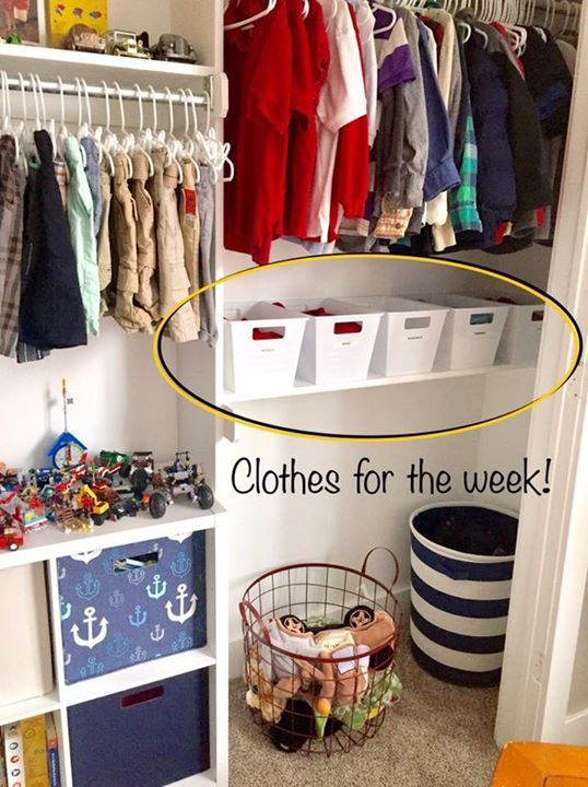 Great way to organize kids clothes. daily outfits. bins.kids closet  organization a95edbcdb9