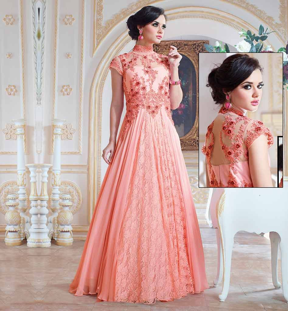 Pink Wedding Gown Online India: EXCLUSIVE GOWNS TO WEAR AT WEDDING FUNCTIONS FUSION STYLE