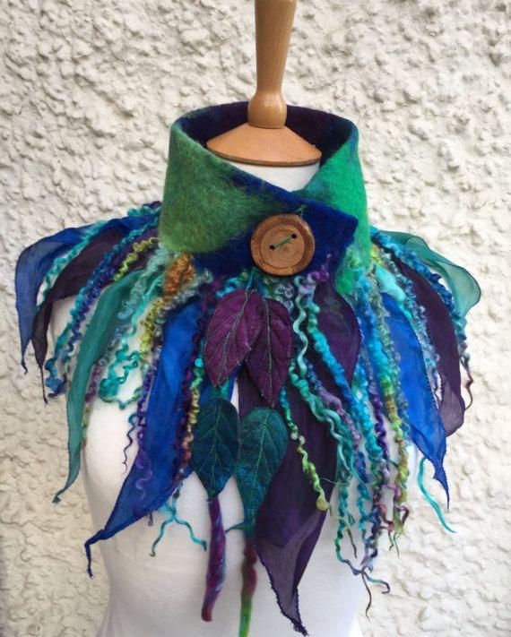 Forest cowl scarf-Woodland Felted Cowl  silk scarf  by folkowl