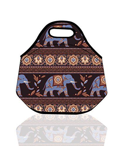 10daa08c18b0 Bohemian Tribal Elephant Insulated Neoprene Lunch Bag Tote Handbag ...