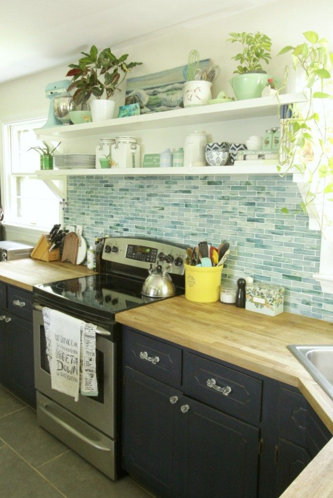 Open shelving in the kitchen is one
