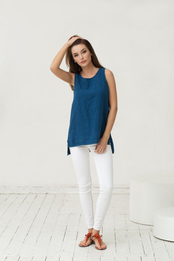 Navy blue linen top. Oversized loose fit shirt in minimal style. Stonewashed linen clothing for women.
