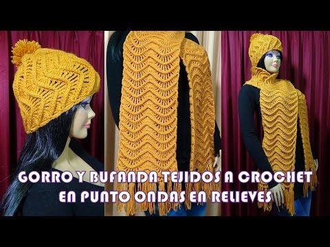 Gorro y Bufanda Tejido a crochet con el Punto Ondas en Relieves paso a paso  - YouTube 1d519012f2d