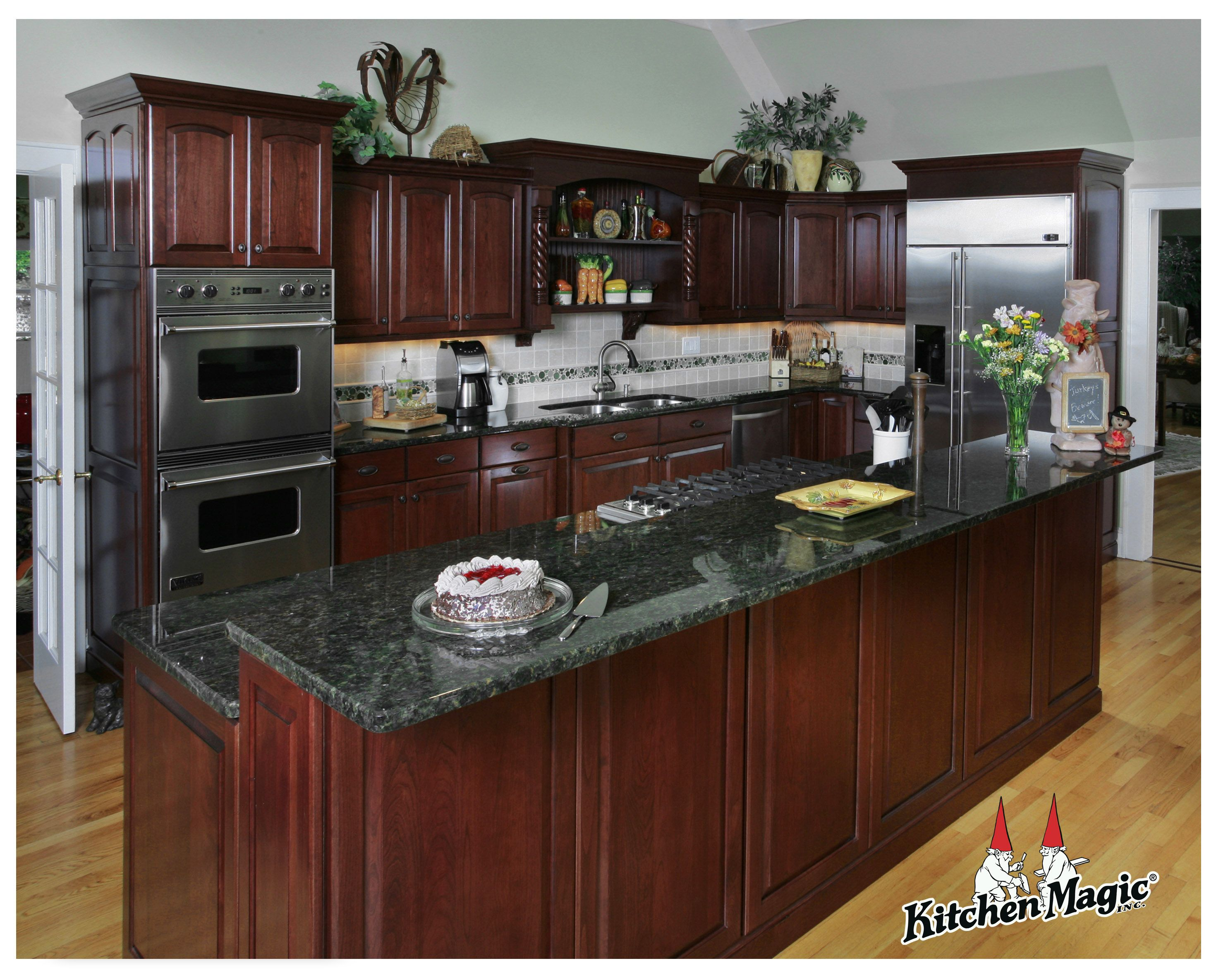 Cordovan Cherry Wood Cabinets.   Kitchen Magic, Inc.   This Is