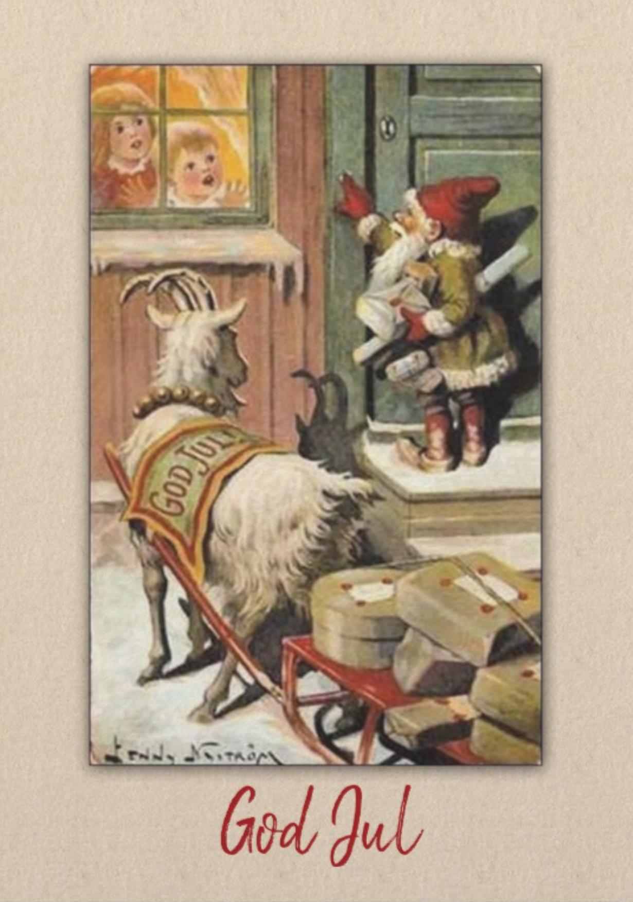 Swedish Christmas Goat 2020 GNOME and GOAT Sweden Tomte Nisse Holiday Card | Zazzle.in