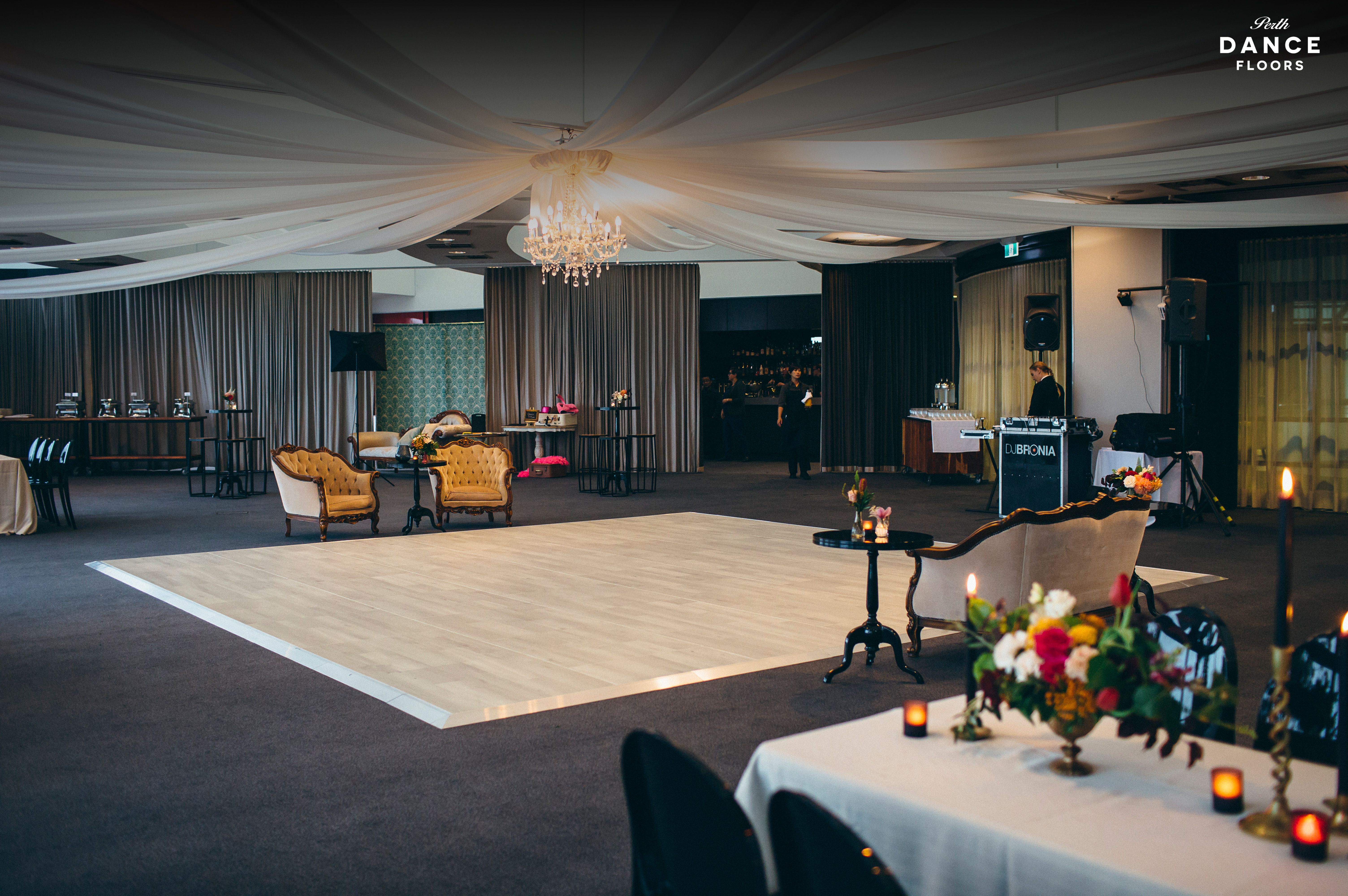 Our White washed oak dance floor Frasers, KIngs Park