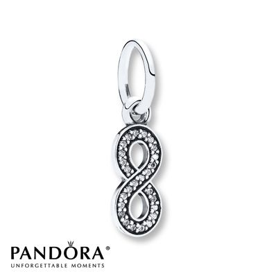 a11e748a4 This sterling silver dangle charm from the Pandora Fall Preview 2014  collection features an infinity symbol outlined in sparkling clear cubic  zirconias.