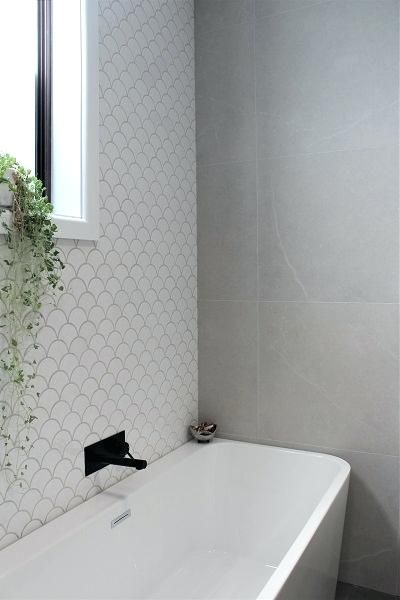 White Fish Scale Tile White Tile Bathroom Feature Wall Large White Fish Scale Tile Bathroom Wall Tile Bathroom Feature Wall Tile Bathroom