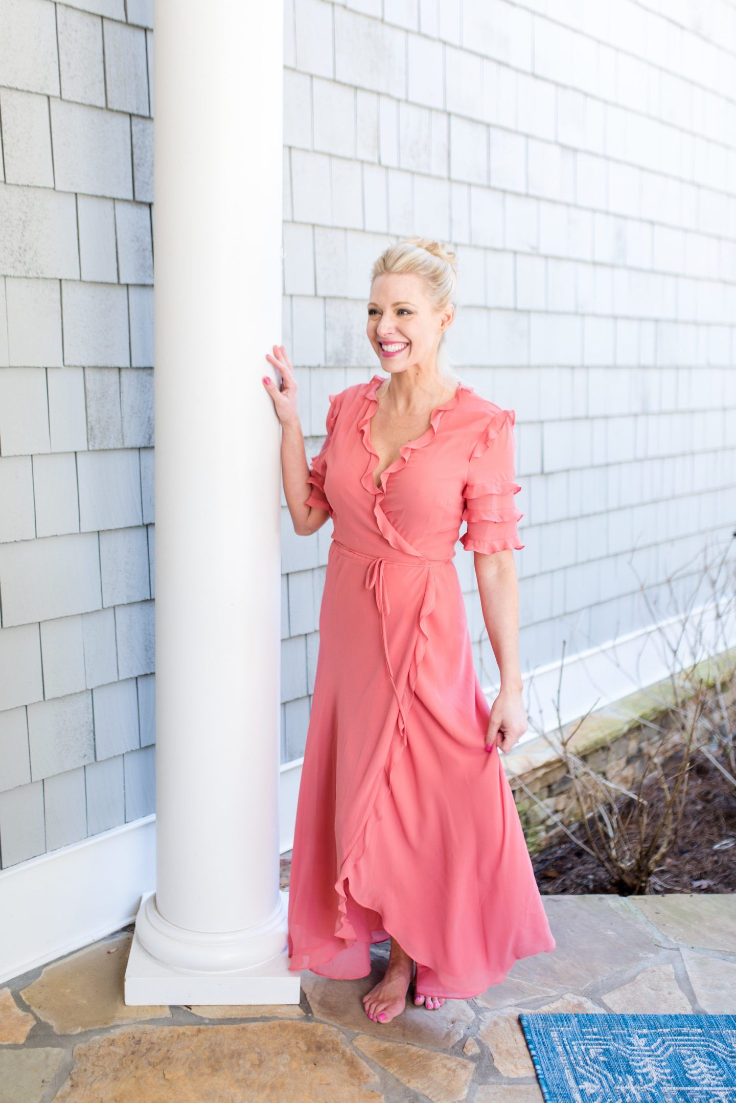 The Nordstrom Wrap Dress that Will Sell Out | Coral color, Maxi ...