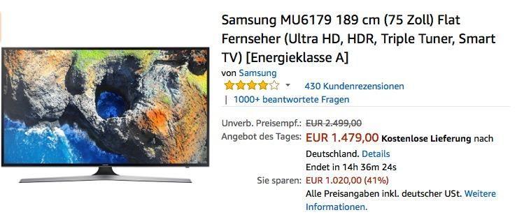 Samsung Mu6179 189 Cm 75 Zoll Flat Fernseher Samsung Fernseher Und Zoll