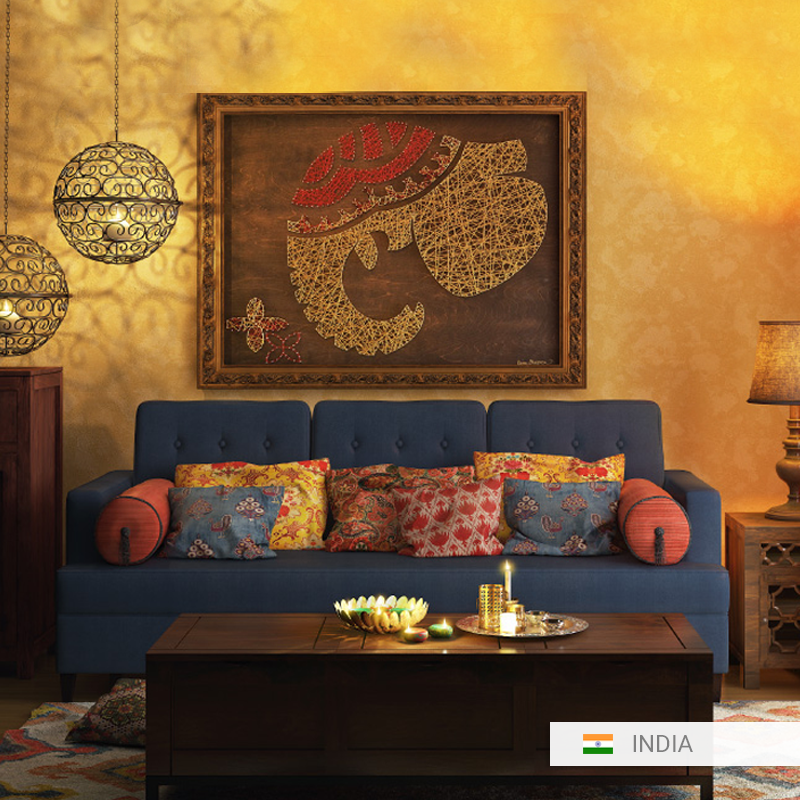 Indian Living Room Indischemobel We Have A Lovely One Of A Kind Indian Home Here A Vibrant Inter Indian Interior Design Indian Home Interior Indian Interiors #wall #decoration #for #living #room #india