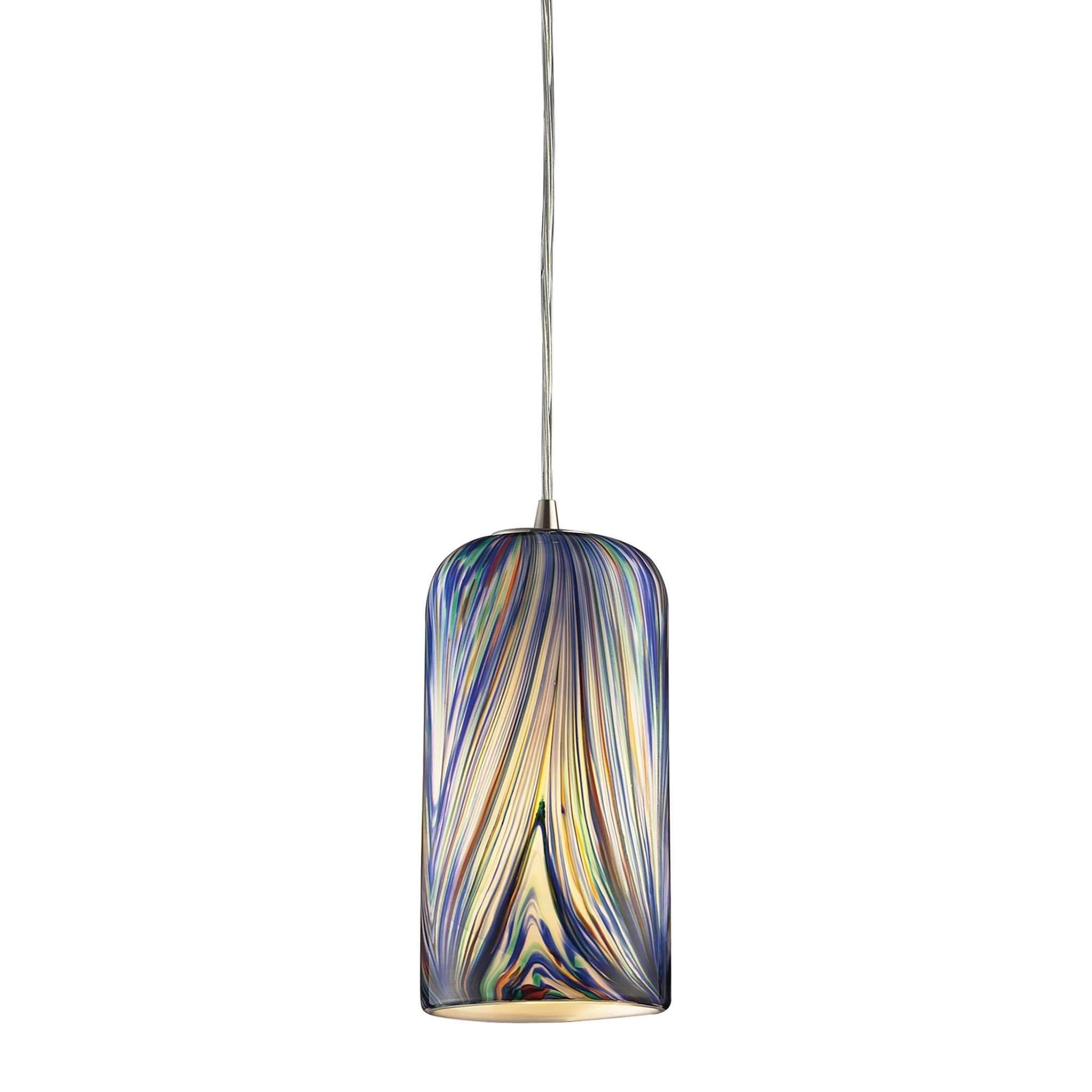 Molten 1 Light Pendant In Satin Nickel And Molten Ocean Glass