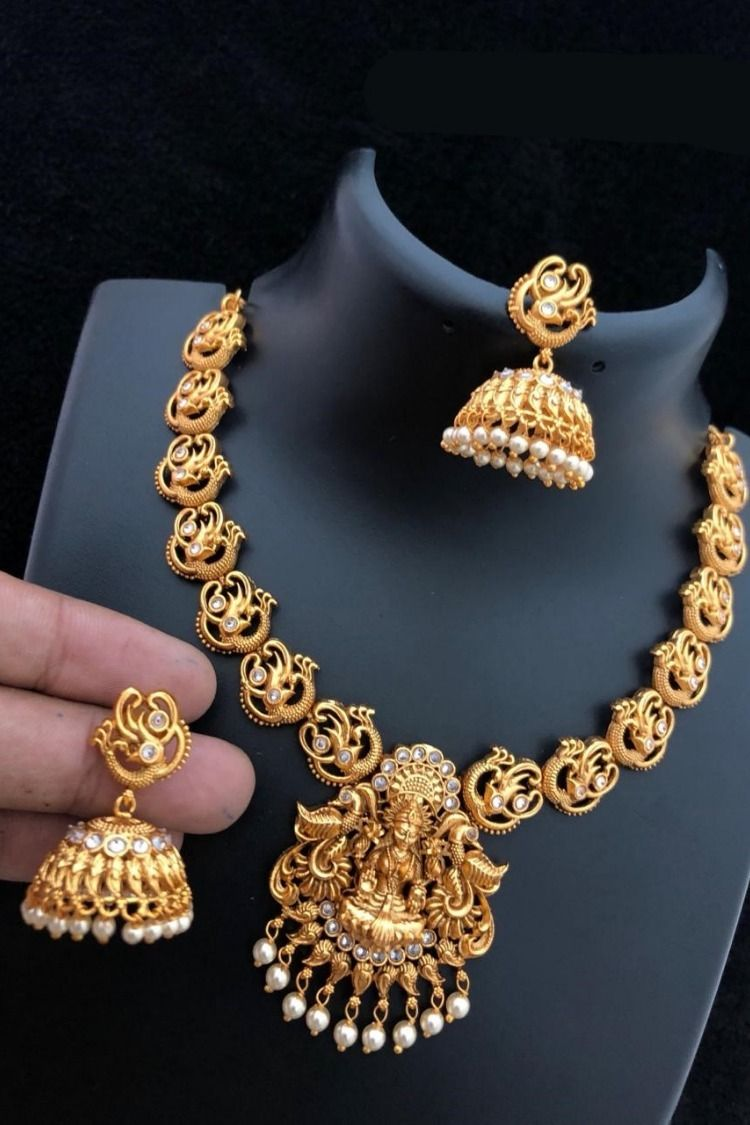 Templejewelry Fashion Jewelry Necklace Esslaxmi Pea Design Gold Matte Jhumkha Usa Canada Indian Online Ping