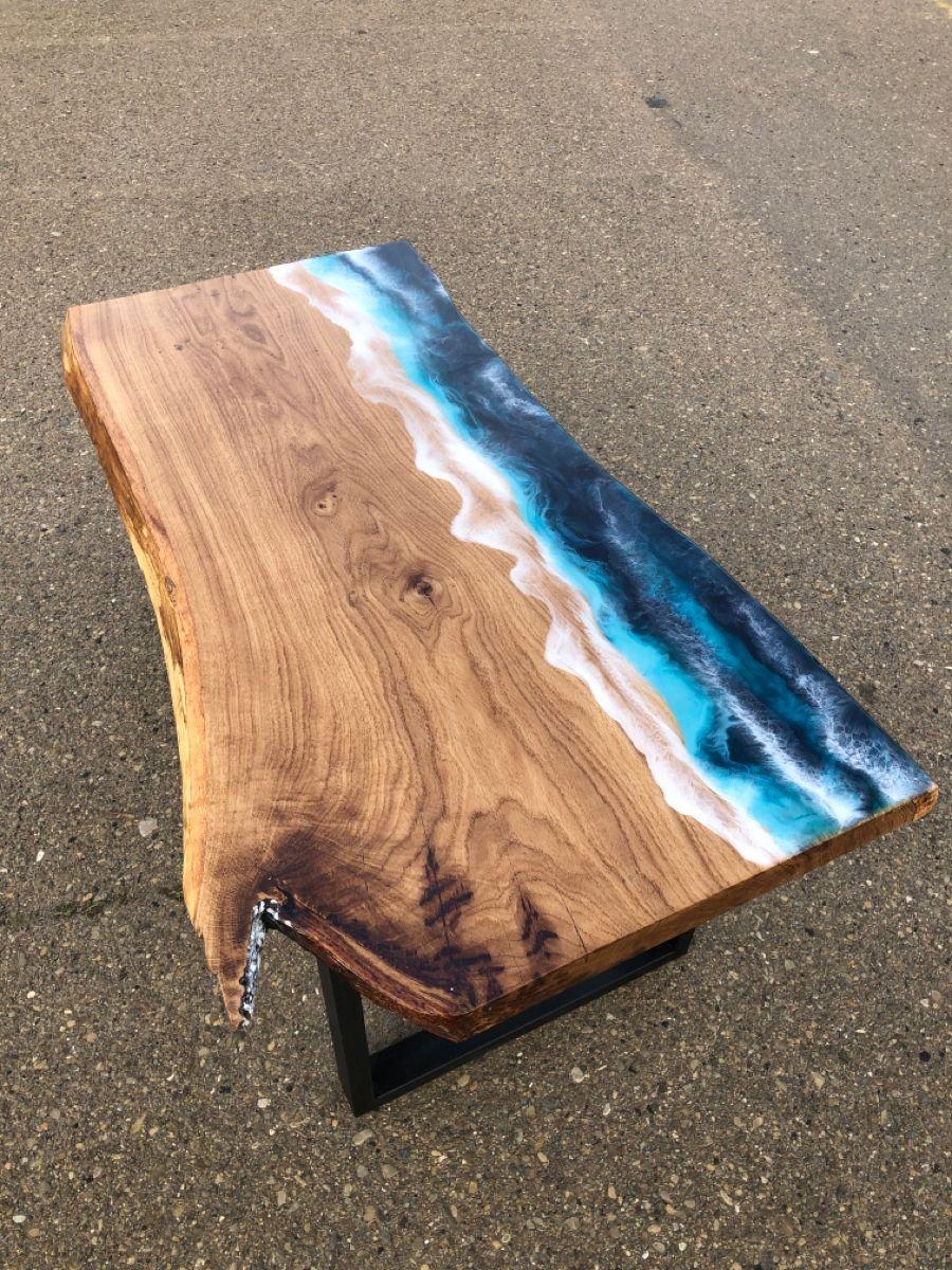 Epoxy Resin Tableepoxy Tablresin Ocean Tablesea Design Etsy In 2021 Diy Resin Wood Table Diy Resin Table Wood Resin Table