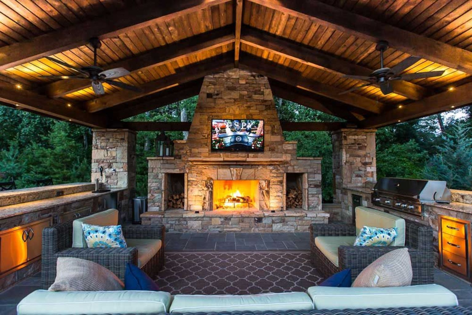 30 back porch designs perfect for everything backyard fireplace outdoor kitchen design on outdoor kitchen gazebo ideas id=86143