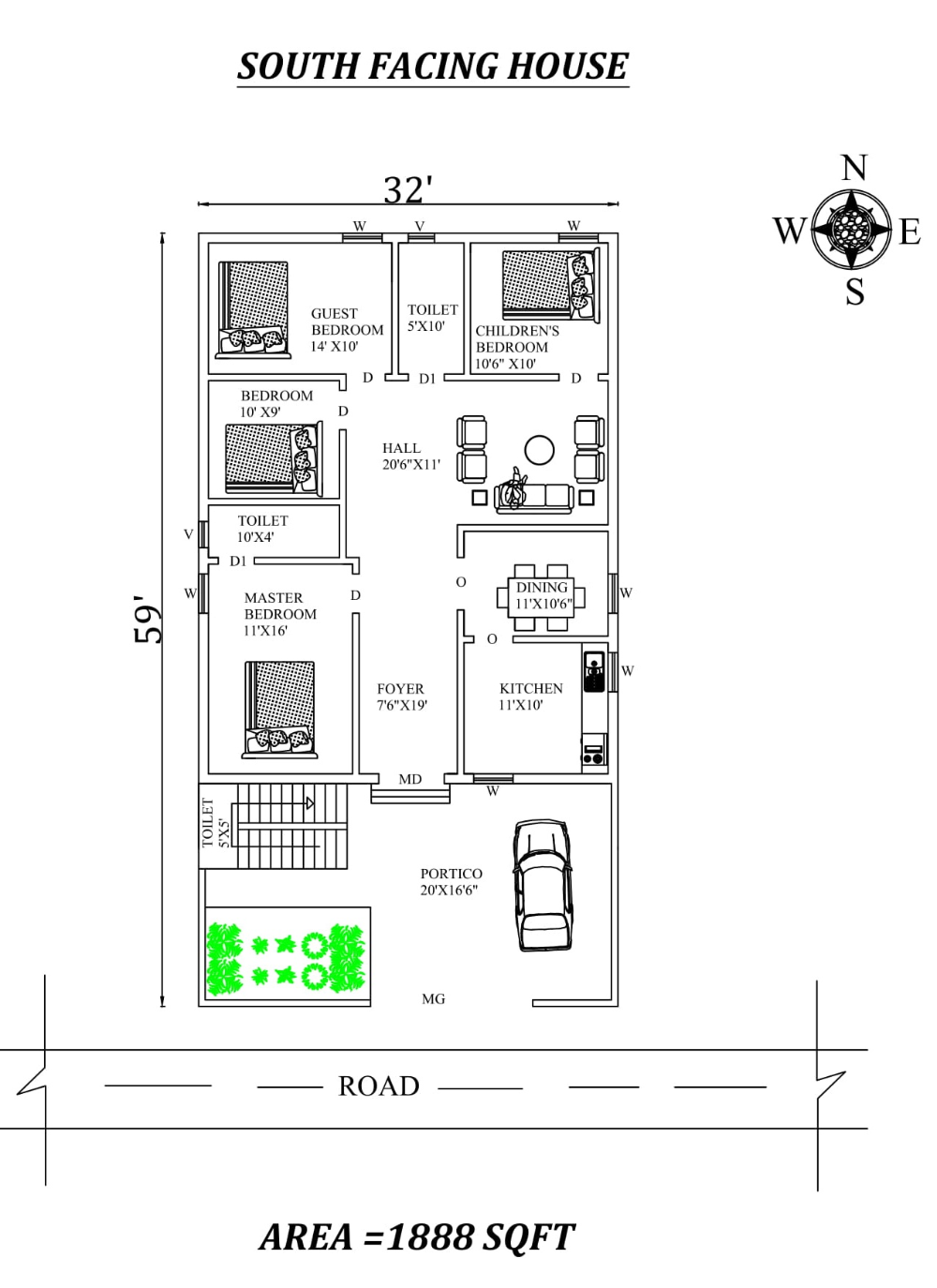 32 X59 4bhk South facing House Plan As Per Vastu Shastra Autocad DWG and Pdf file details