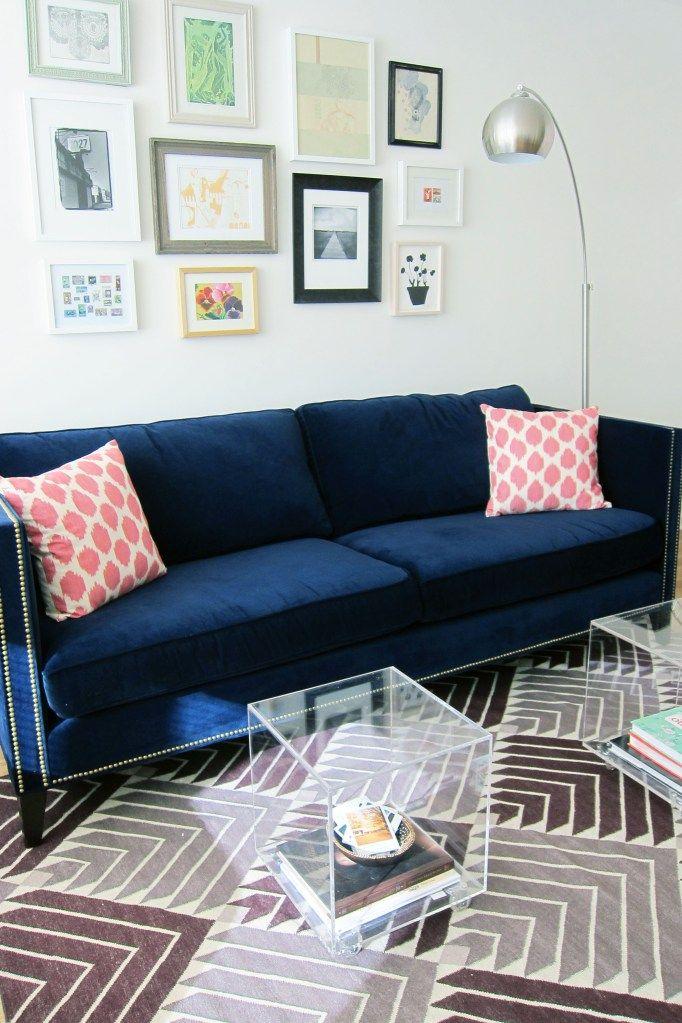 Blue Velvet Sofa Purple Rug Blue Velvet Sofa Blue Sofa Living Blue Velvet Sofa Living Room #royal #blue #couch #living #room