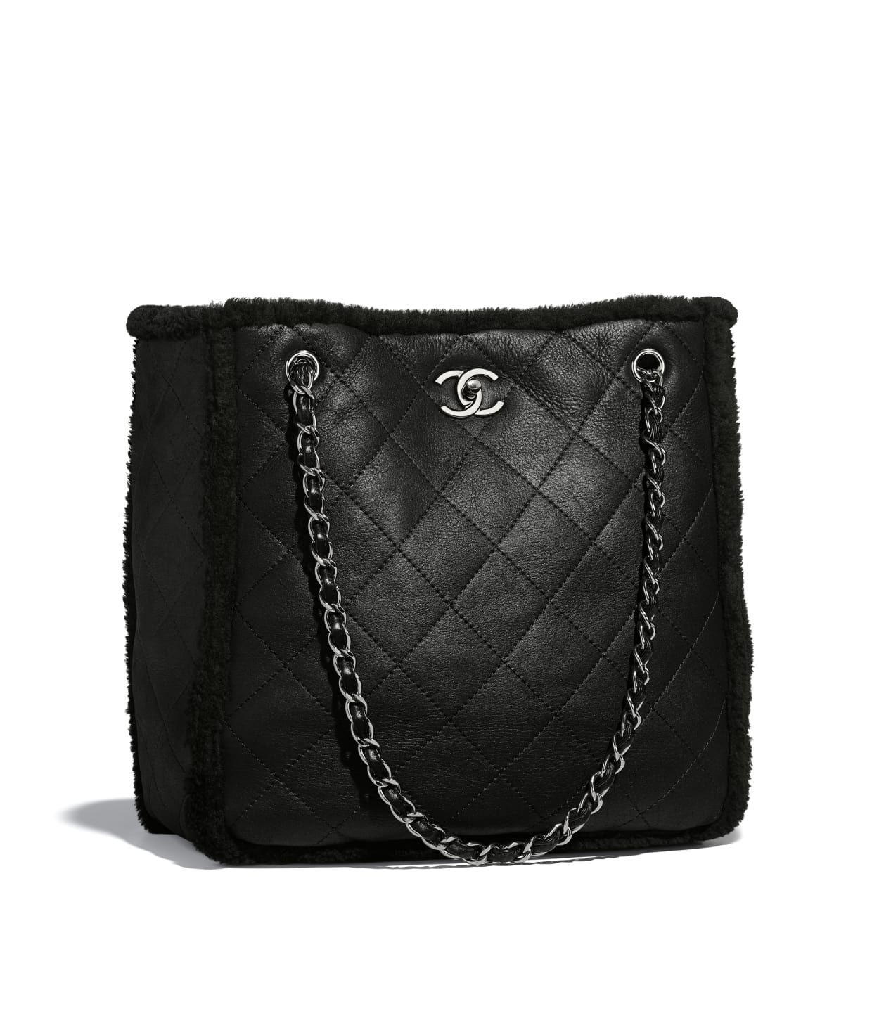 c7f06eececb741 Shearling Lambskin & Ruthenium-Finish Metal Black Large Shopping Bag |  CHANEL