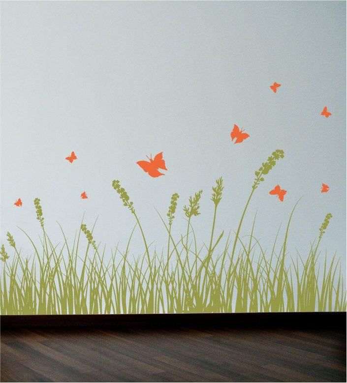 Grass And Butterflies Wall Decal Wall Sticker Etsy Nursery - Wall decals grass