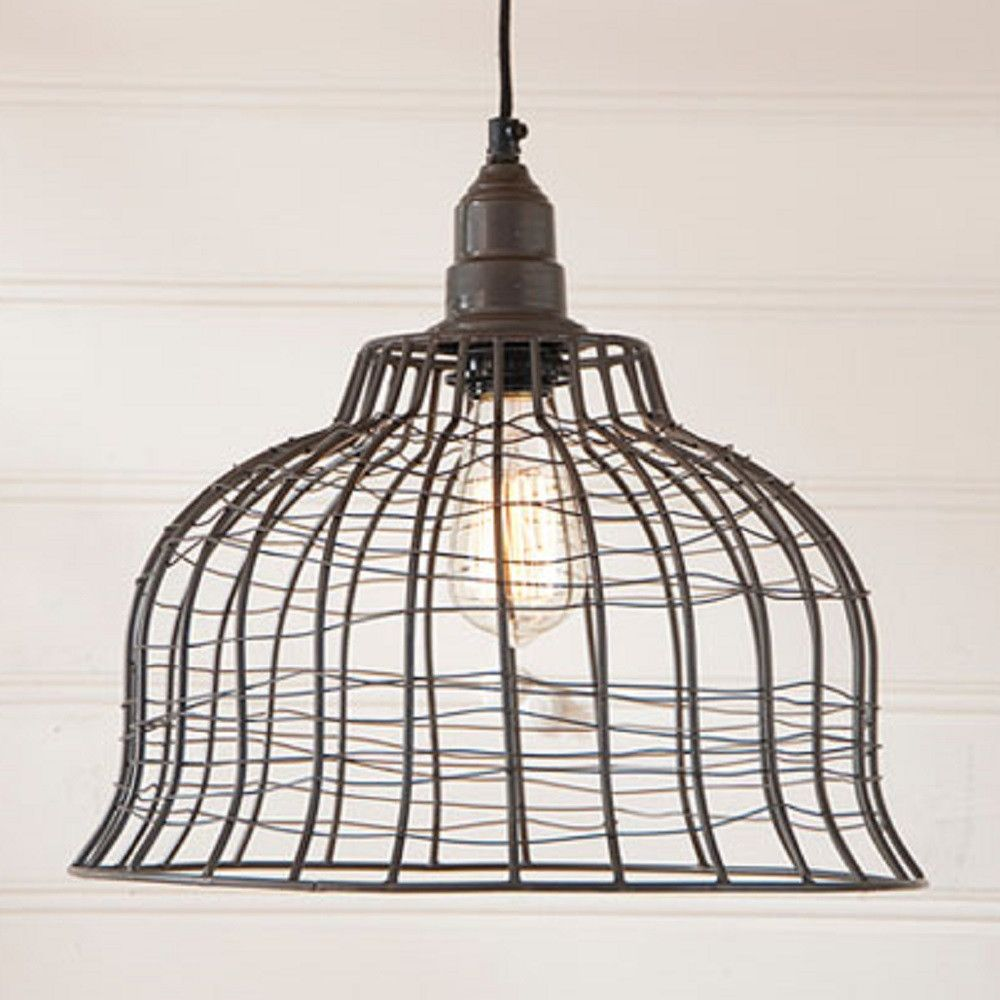 INDUSTRIAL WIRE CAGE PENDANT LAMP in Smokey Black Finish | Pendant ...