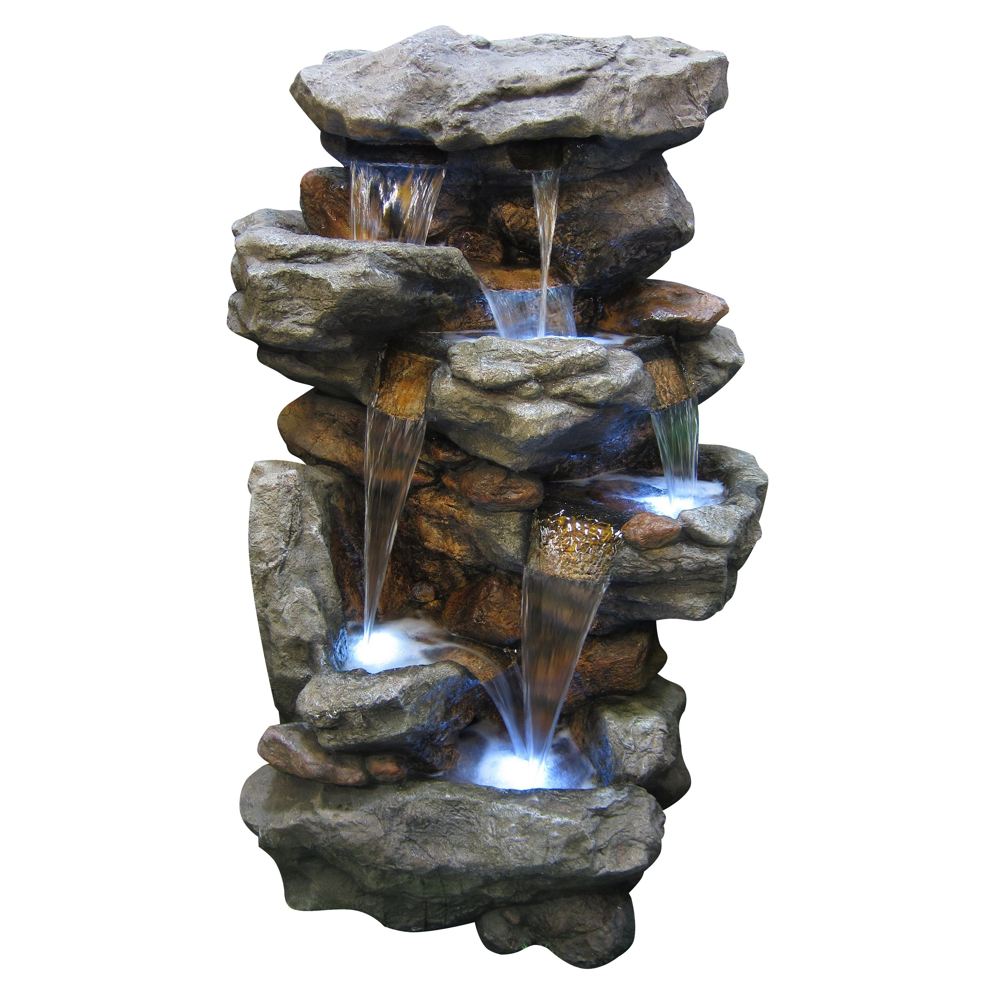 Alpine Rainforest Waterfall Outdoor Fountain Led Lights Waterfall Fountain Indoor Water Fountains Water Fountains Outdoor Outdoor water fountains with led lights