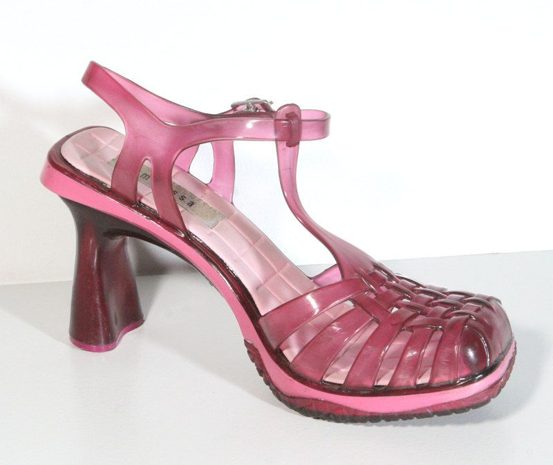 baae9cefd1a5 Clear Pink 90s High Heel Jelly Shoes - US Size 6 | neo 90s | Shoes ...