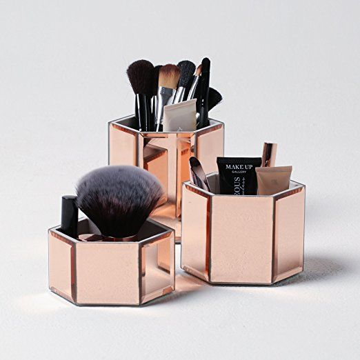 Beautify Rose Gold Mirrored Glass Hexagon Storage Pots for Makeup, Brushes, Jewellery ...