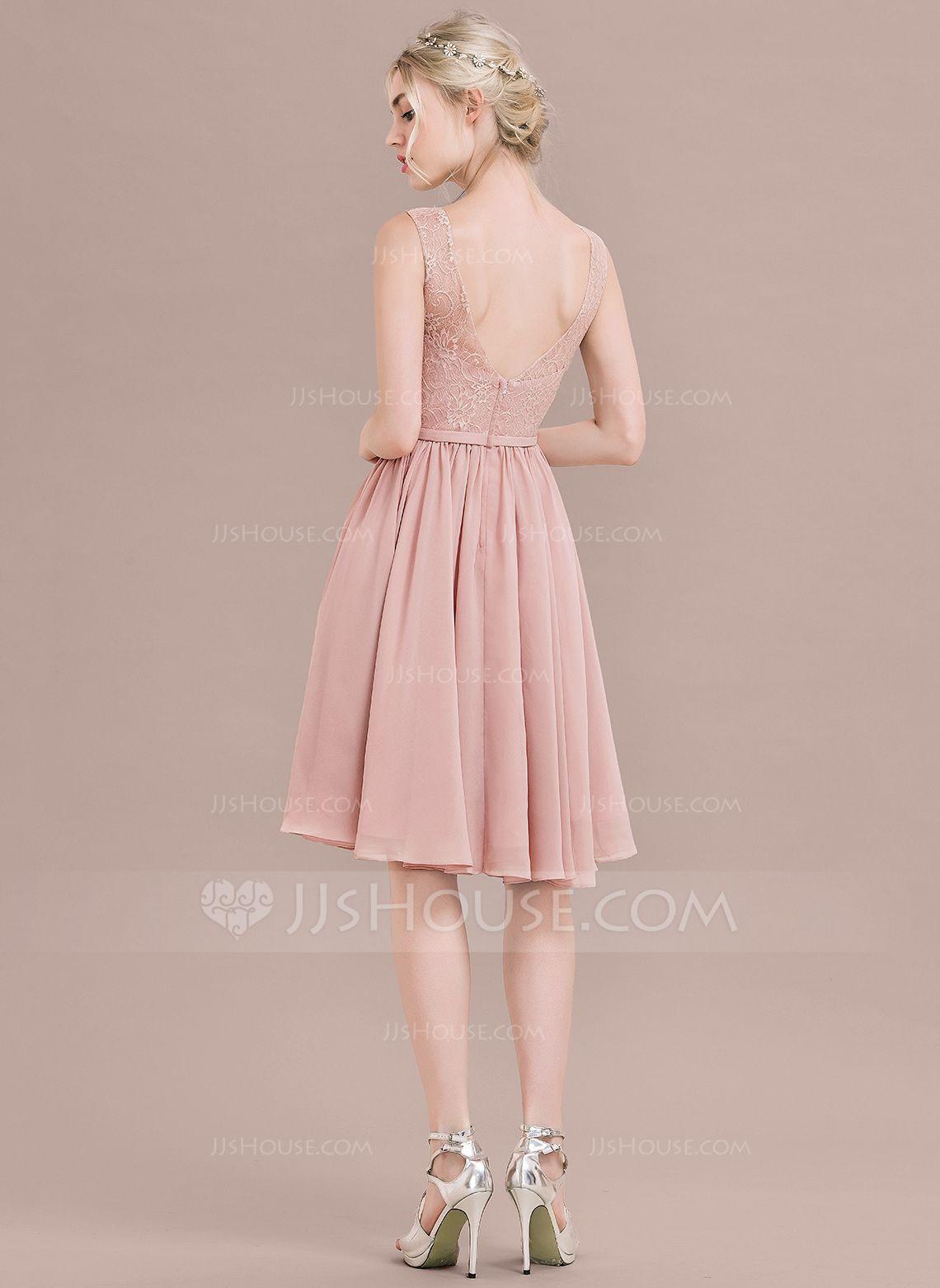 A-Linie/Princess-Linie V-Ausschnitt Knielang Chiffon Lace ...
