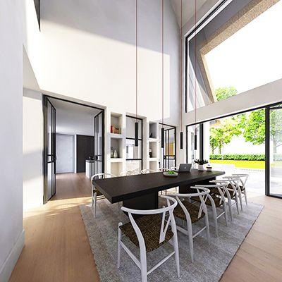 Dubbel hoge keuken met stuckasten en dunne stalen kozijnen for Bouwen en interieur