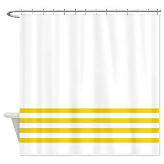 Striped Shower Curtain White With Yellow Stripes OR Customize Colors Standard Extra Long Sizes Cus