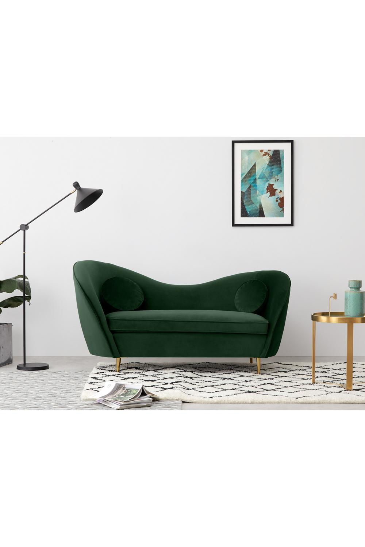 Kooper 2-Sitzer Sofa, Samt in Tannengrün