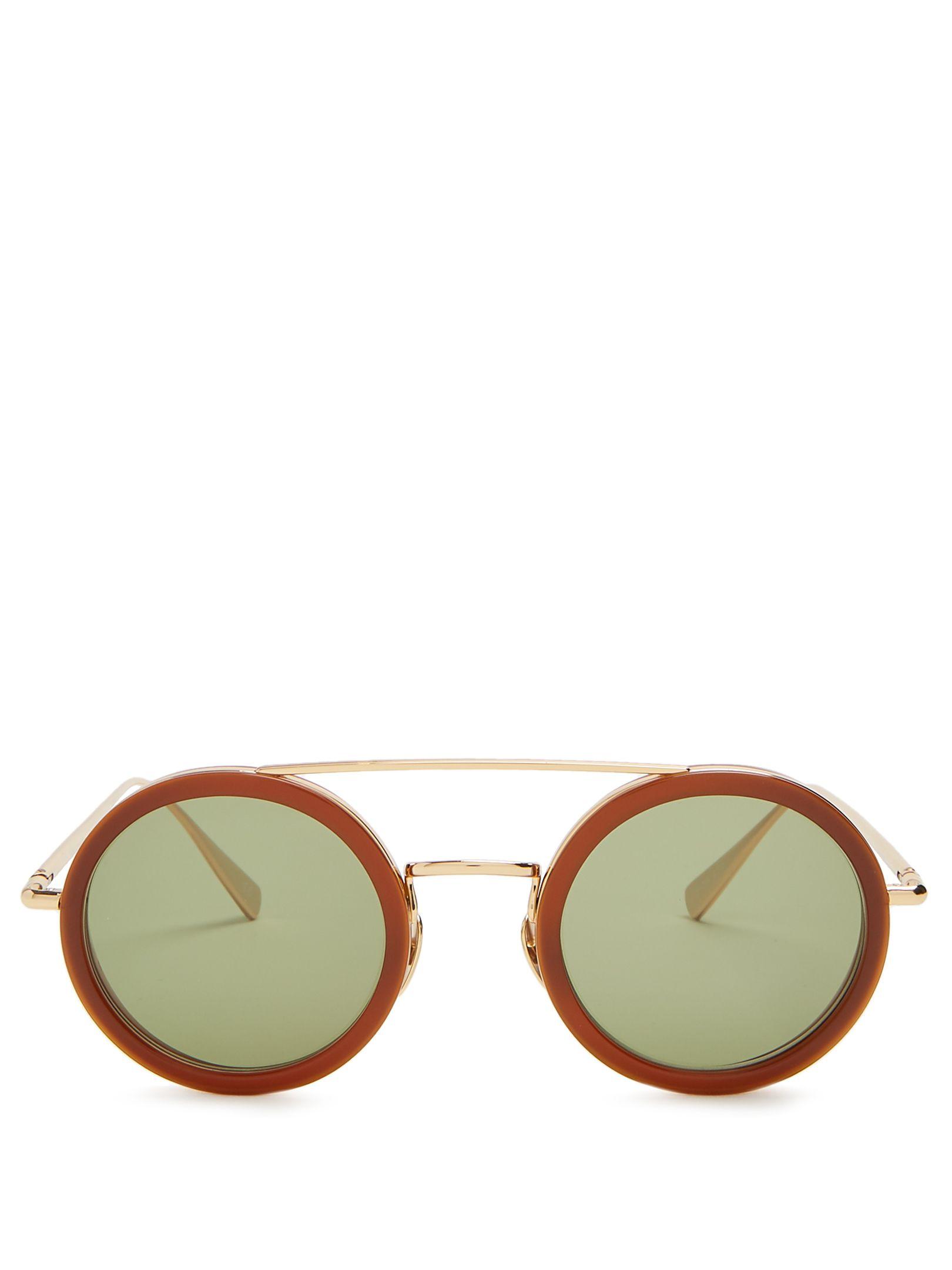 Kowalski Round-Frame Sunglasses, Brown Gold | Brille | Pinterest ...