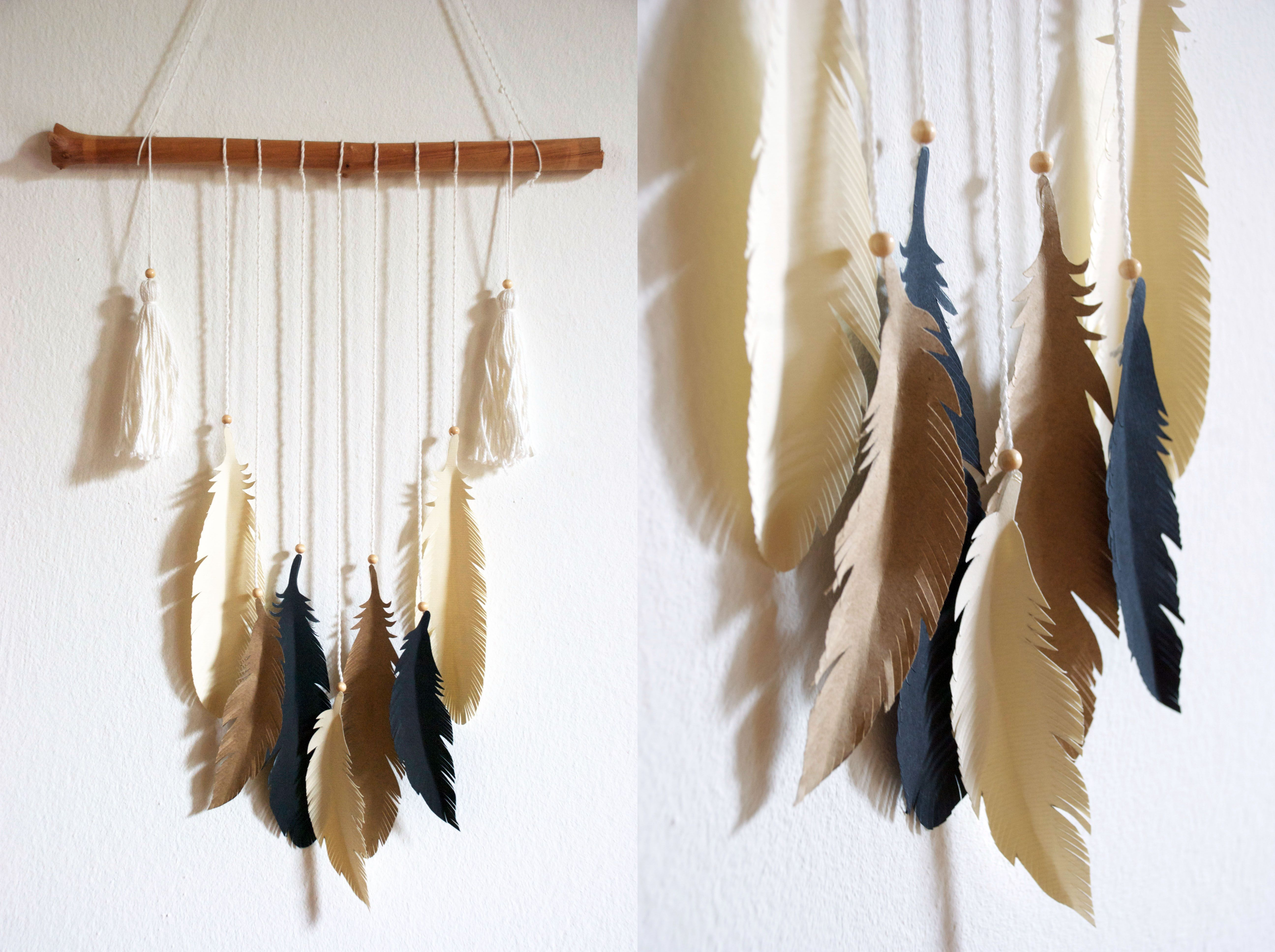 diy wandbehang mit federn aus papier free printable. Black Bedroom Furniture Sets. Home Design Ideas
