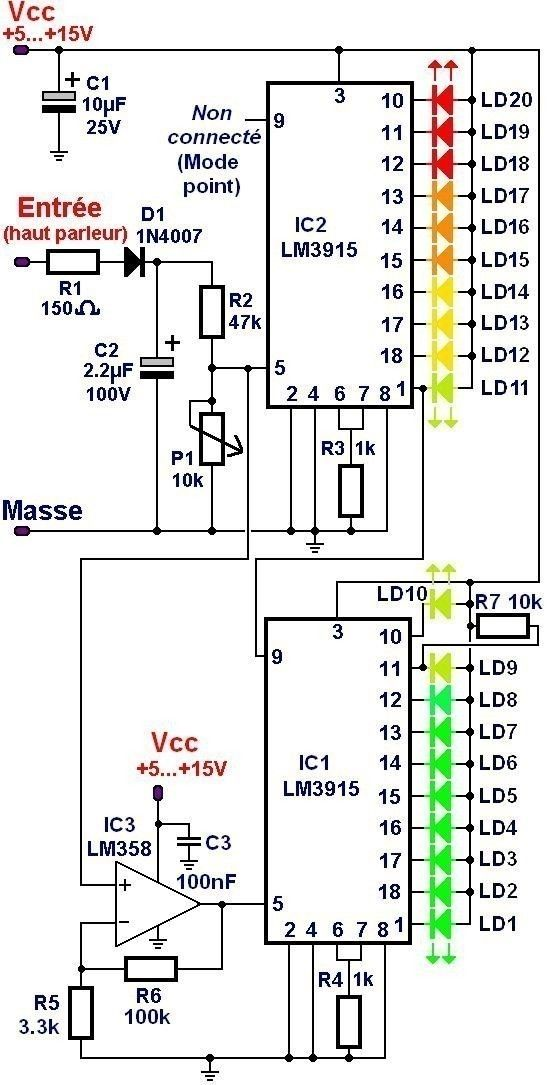 vumetre a 20 led et 2 lm3915 1 | electronic schematic | Electronic