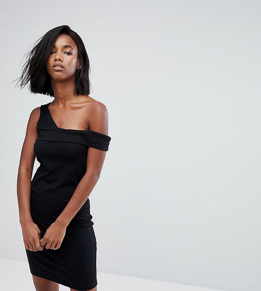 Noisy May - Figurbetontes Kleid mit asymmetrischen Trägern - Schwarz ...