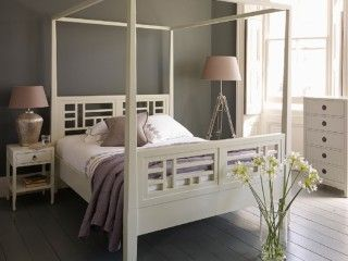 our elegant mandara four poster bed is handcrafted from solid hardwood in an off white distressed painted finish are an elegant focal point for your - Ly Design Your Bedroom