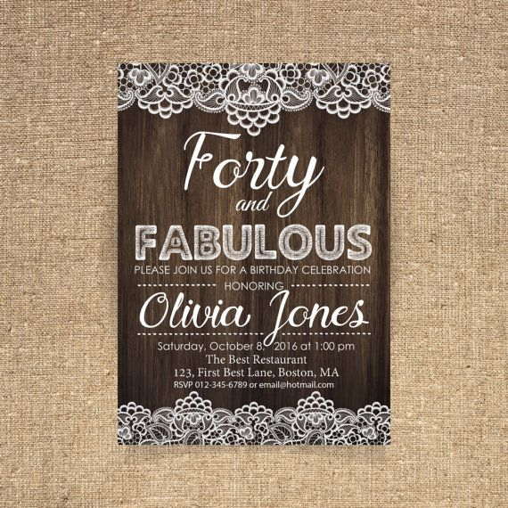 40th Birthday Invitation Lace Woman Adult Printable Invitati