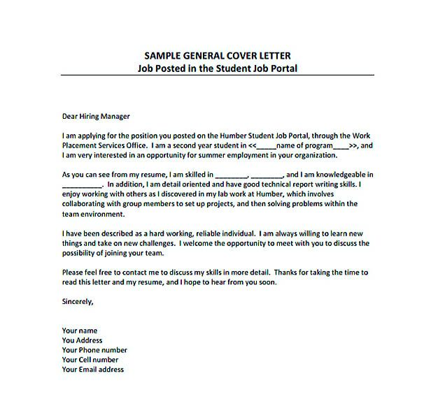 General Cover Letter For Resume General Resume Cover Letter Pdf Template Free Download  Resume