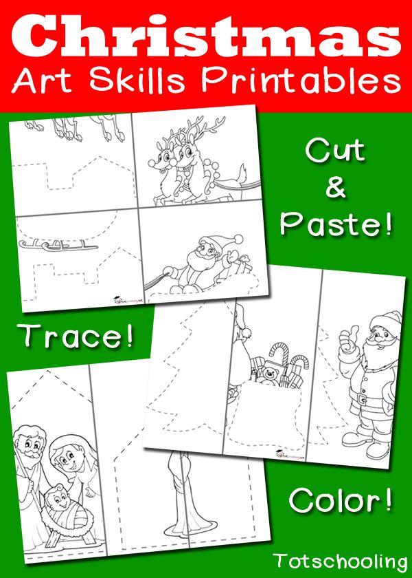 Christmas Art Skills Printables: Cutting, Tracing, Coloring ...