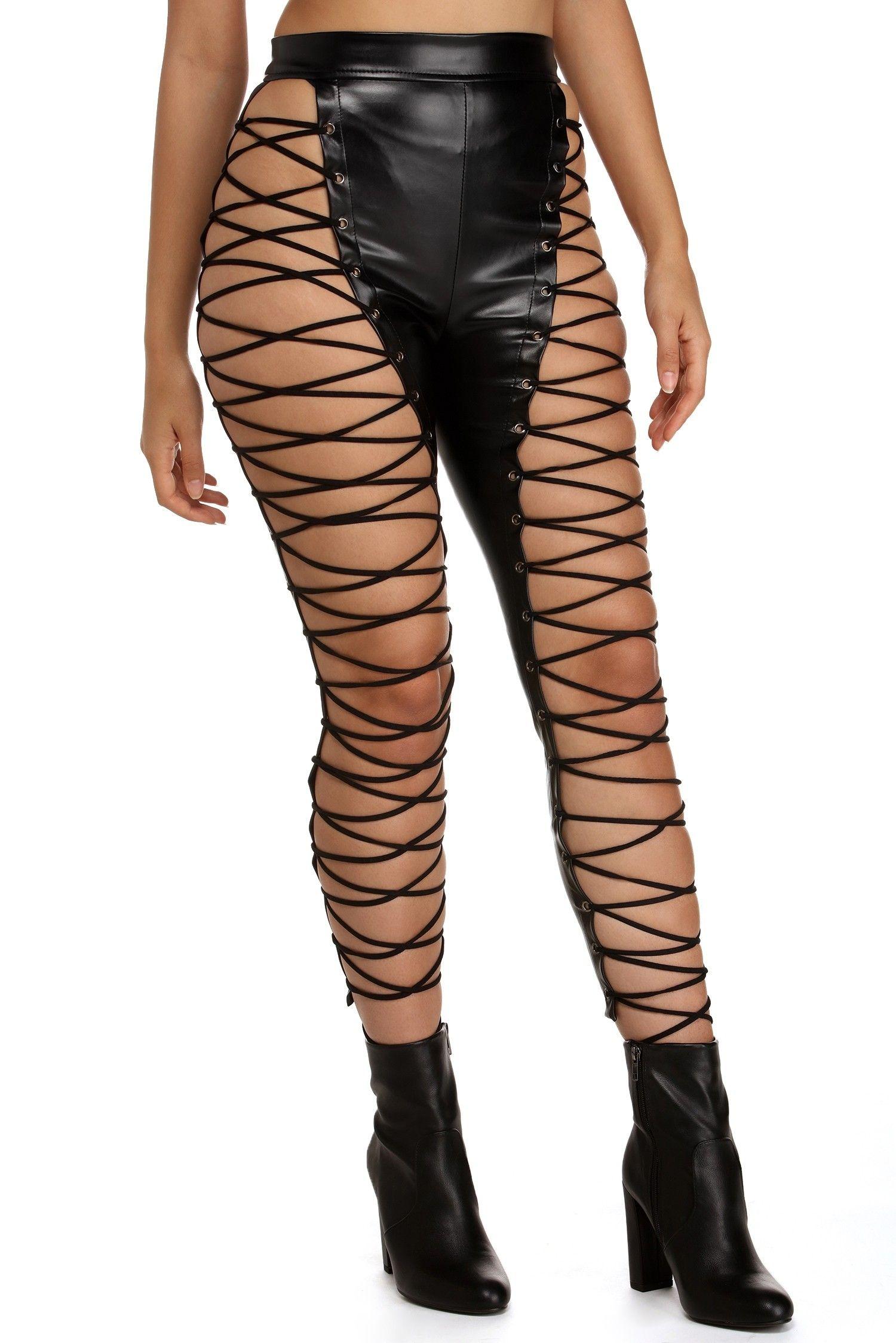 4df3e88976337 FINAL SALE- Lace N  Faux Leather Pants in 2019