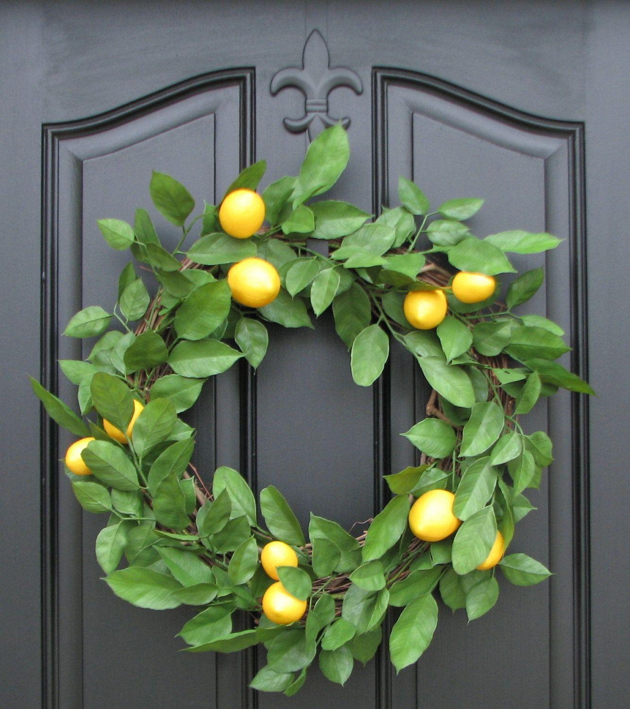 Lemon Wreath Spring Wreath Door Wreaths Lemons Lemon Leaves Wreath Yellow Lemons