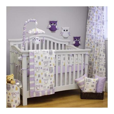 Crib Bedding Set Lilac And Grey Owls Display