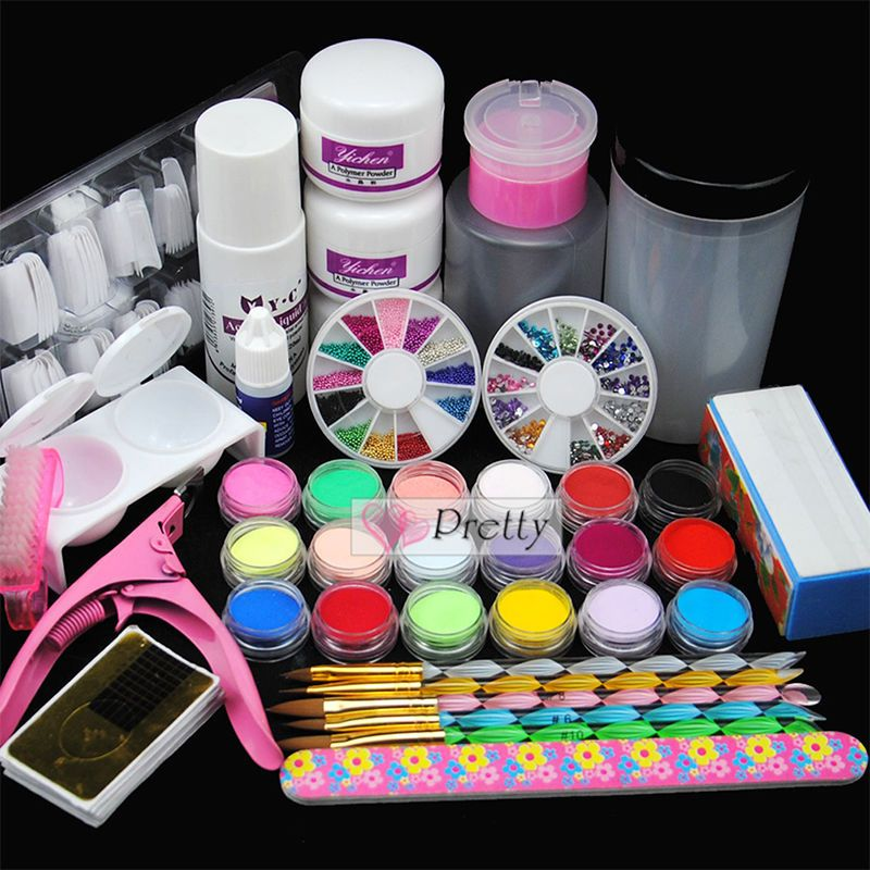 New 18pcs Pro Diy Acrylic Powder Liquid Nail Art Kit Brush Clipper